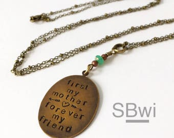 First my sister forever my friend/  necklace in brass with turquoise glass detail