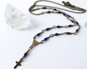 Rosary style necklace in antiqued bronze with genuine lapis details 36 inches cross faith rosary jewelry necklace