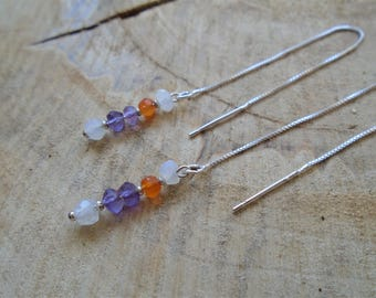 These vibrant stones on 925 Sterling Silver earrings / fine and minimalist