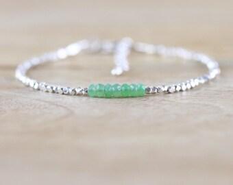 Chrysoprase, Sterling & Karen Hill Tribe Fine Silver Bracelet. Dainty Green Gemstone Stackable Bracelet. Delicate Beaded Layering Jewelry