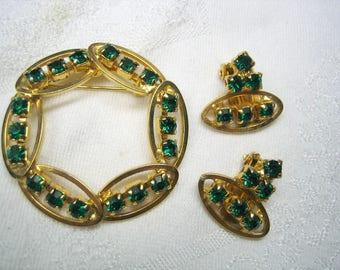 Vintage Emerald Green Rhinestone Brooch & Earrings