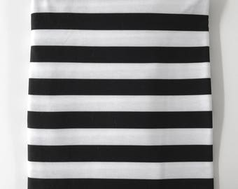 """Black and White 3/4"""" Stripes Super Soft Stretch Jersey Swaddle Receiving Infant Blanket"""