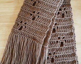 Crochet Paw Print Scarf - Brown