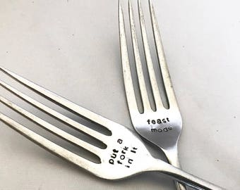 Personalised fork, customised fork, stamped fork, custom gift, plated fork, christmas present, stamped keepsake