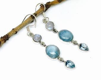 Larimar, rainbow moonstone, blue topaz earring set in sterling silver 925. Natural authentic stones. Length- 1.75 inch. Mutlistone