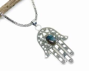10% Labradorite, moonstone hamsa hand Pendant, necklaces set in sterling silver 925. Natural blue labradorite stone. Length -2.75 inch.