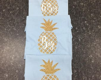 Oversized Pineapple Little/Big/GBig Sorority Family Shirt; Set of 3