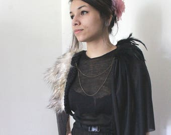 Faux fur and feathers harness
