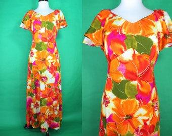 Hawaiian Dress......60's Orange Floral Maxi Hawaiian Pomare Hostess Dress Hostess Gown Luau Dress Tiki Dress