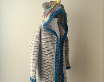 Rainbow Unicorn Knee-length Car Coat Sweater - 4/5 - Ready To Ship