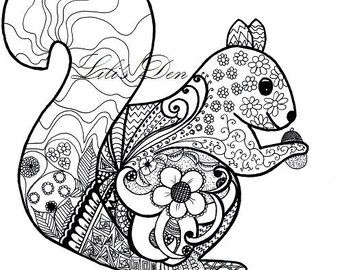 Squirrel Instant Download Colouring Page For Children And Adults Printable Wall Art Zentangle