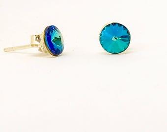 Sterling silver and Swarovski earrings- 6mm stud earrings - Bermuda Blue - everyday earrings - Swarovski Rivoli stones