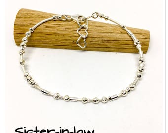 Sister in law gift - morse code bracelet - leather and sterling silver - hidden message