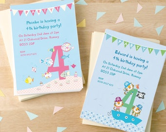 Personalised Fourth Birthday Party Invitations