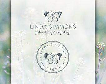 Butterfly Logo | Photography Logo & Watermark | Feminine Logo | Branding Kit | Typography Logo | Round Stamp Logo | Branding Package