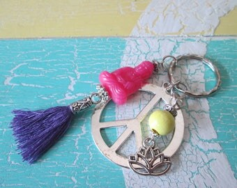 With Buddha pink peace Lotus Flower pendant * trailer tassel style Pearl * hippie * Asian * ethno