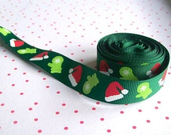 Green christmas ribbon christmas ribbon santa hat ribbon fabric ribbon sold per metre
