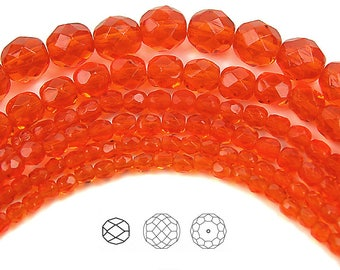 8mm (51pcs) Hyacinth, Czech Fire Polished Round Faceted Glass Beads, 16 inch strand