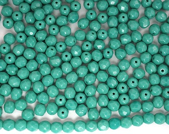 300 Green Turquoise Opaque 6mm, Preciosa Czech Fire Polished Round Faceted Glass Beads, Czech Glass Fire Polish Beads, loose