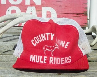 Vintage • County Line Mule Riders Mesh Baseball Cap Hat | Trucker White Red | Unknown