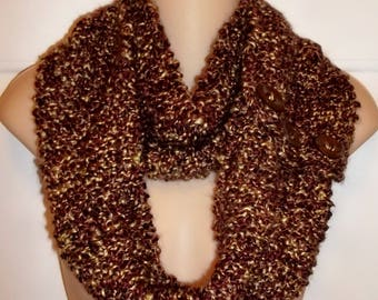 Textured Brown/Beige Long Button/Infinity Scarf (#73)