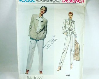 Vintage  Vogue American Designer Bill Blass Sewing Pattern 2298 Size 14
