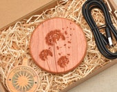 DANDELIONS QI Charger, Wireless Charger Pad with Customized Engraved Cherry Wood