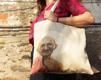 gandhi original art, Printed gandhi tote bag, Canvas tote bag, gandhi wall art, market bag, vegan bag, celebrity art,inspirational gifts