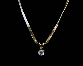Womens Vintage Estate 14K Gold Necklace w/ Diamond Chip Pendant 3.2g #E1219