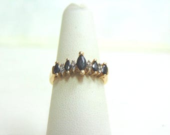 Womens 10k Gold Ring w/ Sapphires & Diamonds 3.1g E1263