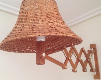 Mid century scissor wall lamp with wicker lampshade