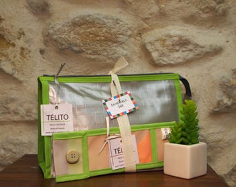 (Toiletry bag + toothbrush case) oilcloth lime and silver set
