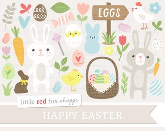 Easter Clipart, Bunny Clip Art, Easter Egg Clipart, Easter Basket Clipart, Spring Clipart, Cute Digital Graphic Design Small Commercial Use