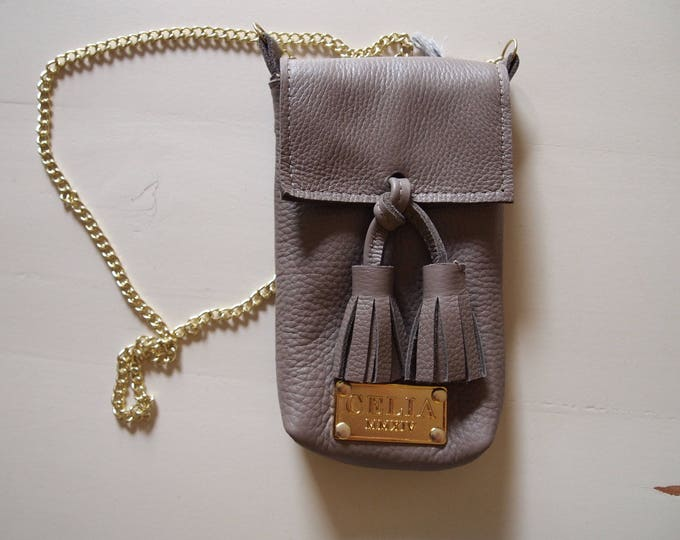 Tan Small Handmade Leather Cell Phone Purse/ Small Leather Cross body.