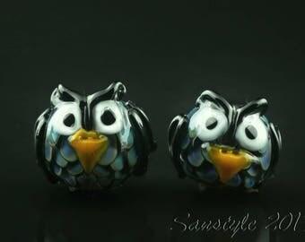 Crows - Lampwork focal lentil beads