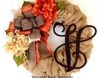 Halloween wreath, Fall burlap wreath, Burlap wreath, Autumn wreath, Fall hydrangea wreath, wreath with initial, Thanksgiving wreath, wreath