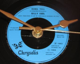 "Billy Idol rebel yell  7"" vinyl record clock"