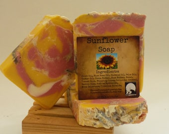 Sunflower, Bar Soap, Cold Processed Soap, Coconut Oil Soap, Shea Butter Soap, Cocoa Butter Soap, Moisturizing Soap, Great Gifts, Handmade