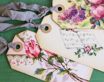Shabby Chic Vintage Wedding Gift Tags Handmade, Pink Roses, Vintage Anniversary, Romantic Floral