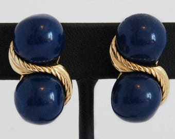 80's Givenchy Paris New York big navy blue balls & gold tone haute couture clip ons, disco fabulous 3D stacked designer statement earrings