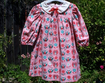 Pink Owl Print Little Girl's Classic Dress with Peter Pan Collar and Long Sleeves, size 3T