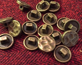 ON SALE NOW 12 mm hammered antique brass colored metal shank button, set of 10
