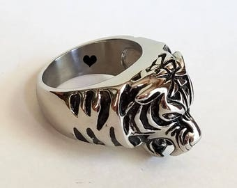 Mens Tiger Ring, Custom Ring, Personalized Ring, Titanium Ring