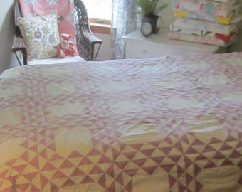 """Serene and Beautiful Lavender + White Ocean Waves Quilt Top 95X75"""""""