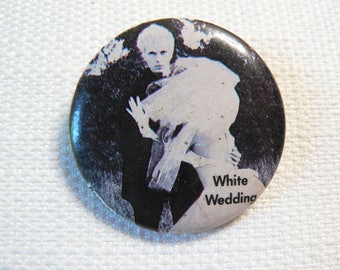 Vintage Early 80s Billy Idol - White Wedding - Pin / Button / Badge (Date Stamped 1983)