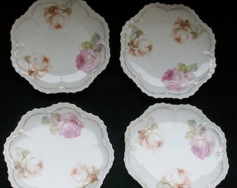 Set of 4 Vintage RS Germany 6 Inch Porcelain China Dessert Plates - Free Shipping