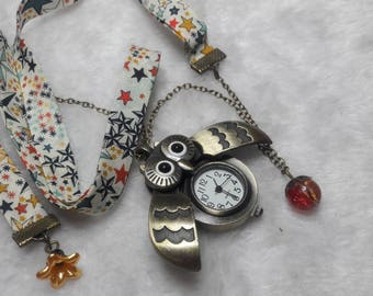 Multicolored starry Liberty OWL Pocket Watch necklace