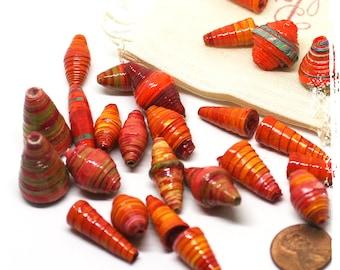 Orange paper beads, Orange rolled paper beads, DIY Gift, Eco-friendly, Destash, Boho chic components, Jewelry supplies, Craft supplies
