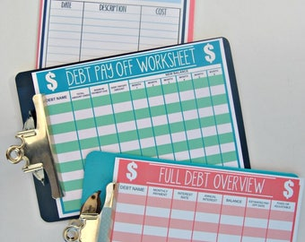 PDF: Budget Forms, Monthly Budget, Debt Pay Off, Debt Overview, Debt At A Glance, Budget Planning, Homemaking Forms - INSTANT DOWNLOAD