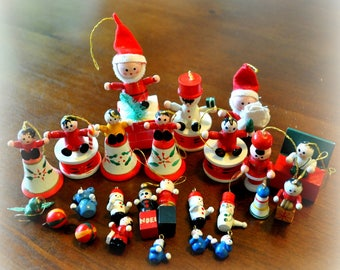 Set of Vintage Wooden Christmas Ornaments